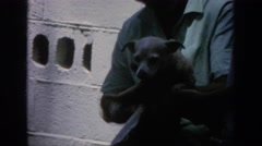 1962: a man holding a small dog and drying him off BLAINSPORT PENNSYLVANIA Stock Footage