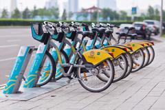 Astana, Kazakhstan - July 28, 2016: Urban bicycle rental. Stock Photos