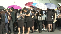 Thai King's Death Lines Outside Grand Palace Stock Footage