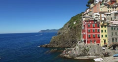 The village of Riomaggiore, one of the famous Cinque Terre. Stock Footage