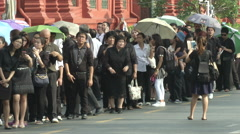 Thai King's Death People in Black Outside Grand Palace Stock Footage