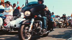 British bikers and British flags at a motorbike parade Stock Footage