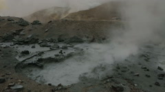 Mud bath in crater of Mutnovsky volcano Stock Footage