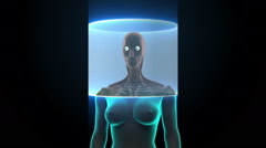 Zooming front Female body and scanning Human eyes system. Blue X-ray light. Stock Footage