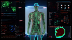 Female Human body scanning lymphatic system in digital display dashboard. HD. Stock Footage