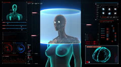 Zooming Female body scanning Human eyes system in digital display dashboard. Stock Footage