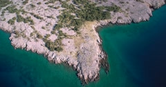 Aerial, Coastline In Croatia - Graded and stabilized version. Stock Footage