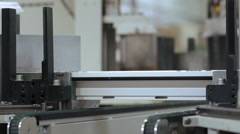 Automatic machine for sticking together PVC sections of windows Stock Footage