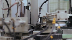 Machinery making pvc on the window factory Stock Footage
