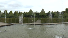 Fountains and Tree Topiary at Frederiksborg Landscaped Gardens Stock Footage