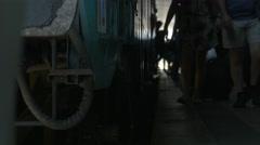 Passengers Step Off Train Stock Footage