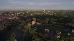Long low aerial view of a castle in Dudley, West Midlands. Stock Footage