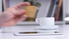 Online shopping. Many different credit cards Stock Footage