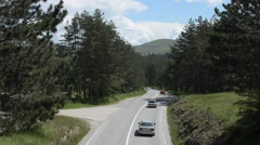 Traffic on a Mountain Road Stock Footage