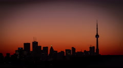 Beautiful silhouette of Toronto skyline at dawn, 4k uhd Sunrise Timelapse Stock Footage
