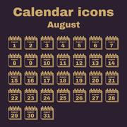 The calendar icon. August symbol. Flat Stock Illustration