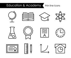 Education and academy thin line icons Stock Illustration