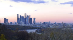 Moscow Business Center, time-lapse photography Moscow City Stock Footage