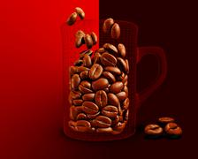 Illustration of Cup with coffee beans on red background Stock Illustration