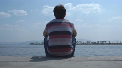 Young male enjoying the view Stock Footage