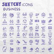 Icon set business people and finance with money, graphs, calculator, shaking Stock Illustration