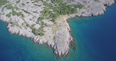 Aerial, Coastline In Croatia - Native Material, straight out of the cam Stock Footage