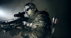 The soldier with the crossbow. Fantasy. The post Apocalypse. Stock Footage