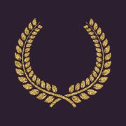 The laurel wreath icon. Prize and reward, honors symbol. Gold sparkles and Stock Illustration