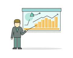 Businessman Making a Presentation Near Whiteboard Stock Illustration