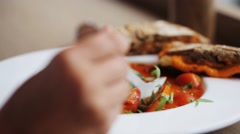 Plate of delicious gazpacho soup at restaurant Stock Footage