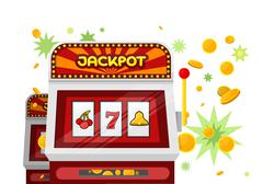Slot Machine Web Banner Isolated on Green Piirros