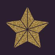 The star icon. Best and favorite, quality symbol. Gold sparkles and glitter Stock Illustration