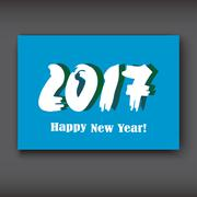 Happy New 2017 Year, modern design on blue background, year 2017 in brush stroke Stock Illustration