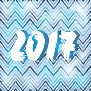 Happy New 2017 Year on striped, zigzag pattern. Vector illustration Stock Illustration