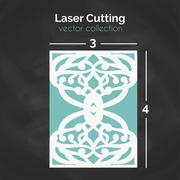 Laser Cut Card. Template For Cutting. Cutout Illustration Stock Illustration