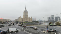 Time-lapse photography Moscow and view on Hotel Ukraine Stock Footage