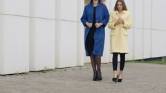 Two assured women walks runway in cashmere wool coats on the street. Slowly Stock Footage