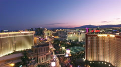 4k aerial view Las Vegas downtown fast flyover strip Stock Footage
