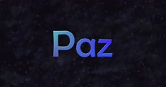 Blue Peace text in Spanish (Paz) turns into dust to right Stock Footage