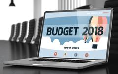 Budget 2018 on Laptop in Conference Room. 3D Piirros