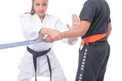Martial arts self defense Stock Photos