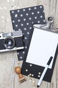 Creative Christmas Card with an old photo camera Stock Photos