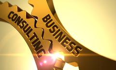 Golden Cog Gears with Business Consulting Concept. 3D Piirros