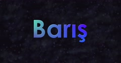 Blue Peace text in Turkish (Baris) turns into dust to right Stock Footage