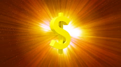 HD Loopable Background with nice rotating golden dollar Stock Footage