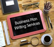 Business Plan Writing Services on Small Chalkboard. 3D Piirros