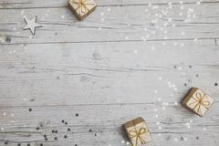 Christmassy grey wood background with decoration Stock Photos
