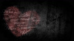 Shabby background with painted heart with the words, antonyms for the word Love Stock Footage