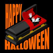 Happy Halloween. Dracula in open coffin. Illustration for terrible holiday. V Stock Illustration