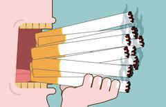 Man smokes Lot cigarettes. Many of nicotine. Open mouth heavy smoker. Yellow  Stock Illustration